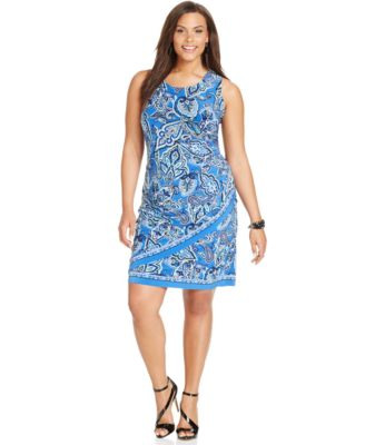 INC International Concepts Plus Size Floral-Print Sheath Dress ...