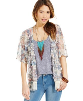 Almost Famous Juniors' Fringed Kimono Jacket - Jackets & Vests ...