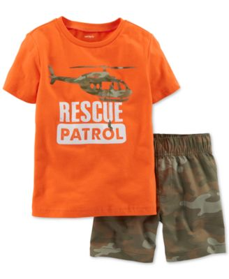 Carters Baby-Month 2-Pc Shorts /& T-Shirt Rescue Patrol Set Camo /& Orange
