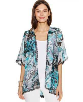NY Collection Swirl-Print Fringed Kimono Cardigan - Jackets ...