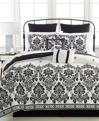 damask flocked 8pc king comforter set