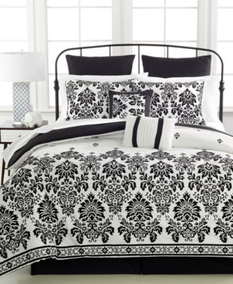 CLOSEOUT! Damask Flocked 8-Pc. Queen Comforter Set