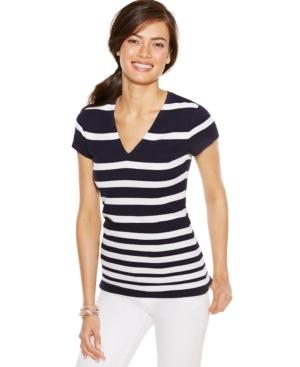INC International Concepts Plus Size Striped Knit Top