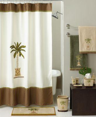 avanti bath accessories, banana palm shower curtain - bathroom