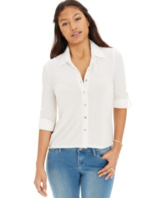 Almost Famous Juniors' Lace-Yoke Button-Down Shirt - Tops ...