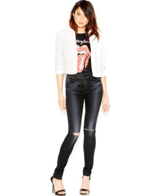 7 For All Mankind Slim Illusion Luxe Distressed Skinny Jeans ...