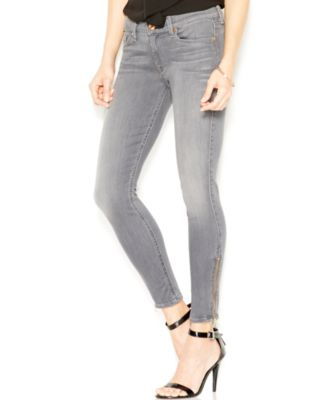7 For All Mankind The Skinny Ankle-Zip Skinny Jeans, Grey Sateen ...