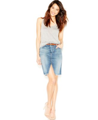 Denim pencil skirt front split – Modern skirts blog for you