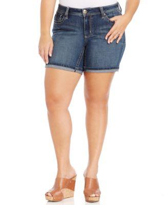 Seven7 Jeans Plus Size Cuffed Denim Shorts, Gia Wash - Shorts ...