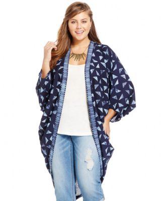 Harper and Liv Plus Size Printed Kimono Cardigan - Plus Sizes - Macy's