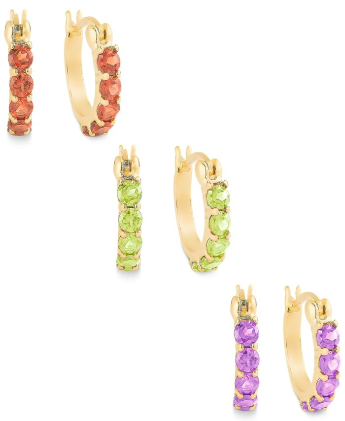 Macy's Extra Small Multi-Stone Hoop Earrings Set in 18k Gold over Sterling Silver & Reviews - Earrings - Jewelry & Watches - Macy's