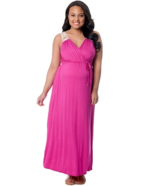 Motherhood Maternity Crocheted-Detail Maxi Dress plus size,  plus size fashion plus size appare