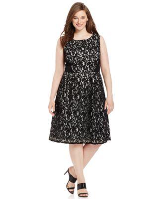 Calvin Klein Plus Size Belted Poplin Flare Dress Dresses
