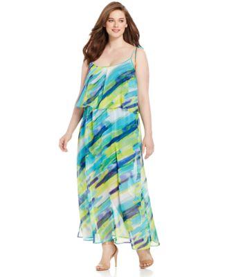 Calvin klein blue striped maxi dress