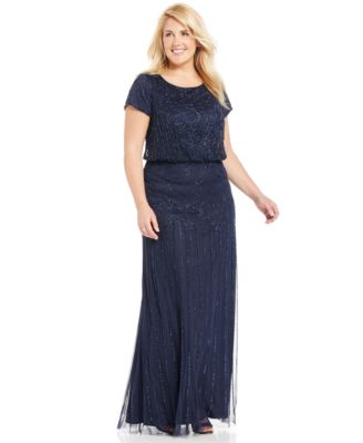 Adrianna Papell Plus Size Dress, Short-Sleeve Illusion Lace Pleat ...