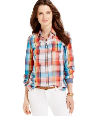 Tommy Hilfiger Rainbow Plaid Button-Down Shirt - Tops - Women - Macy's