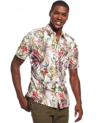 Sean John Floral-Print Shirt - Casual Button-Down Shirts - Men ...