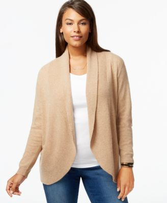 Charter Club Plus Size Cashmere Open-Front Cardigan - Sweaters ...
