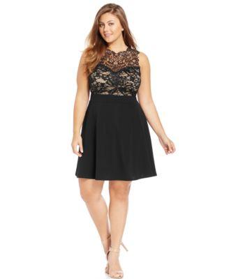 Trixxi Plus Size Lace Illusion A-Line Dress - Dresses - Plus Sizes ...