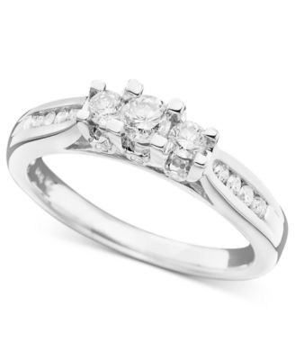 three stone diamond ring in 14k white or yellow gold 12 ct - Macy Wedding Rings