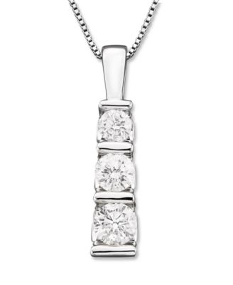 Three stone diamond pendant necklace in 14k white gold 12 ct tw three stone diamond pendant necklace in 14k white gold 12 ct tw aloadofball Image collections