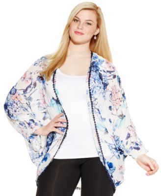 ING Plus Size Kimono-Sleeve Printed Cardigan - Sweaters - Plus ...