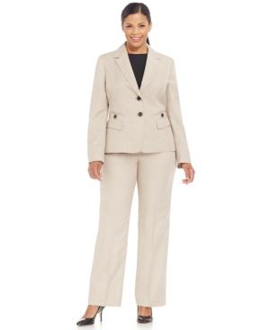 Le Suit Plus Size Two-Button Shadow-Pinstripe Pantsuit