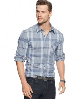 DKNY Jeans Space-Dye Plaid Shirt - Casual Button-Down Shirts - Men ...