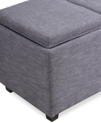 Avalon Fabric Rectangular Storage Ottoman with 3 Trays Direct