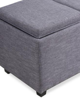 Avalon Fabric Rectangular Storage Ottoman with 3 Trays Direct