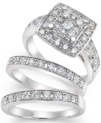 diamond engagement ring bridal set 2 ct tw in 14k white gold rings jewelry watches macys - Macys Wedding Rings