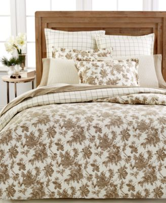 CLOSEOUT! Martha Stewart Collection Sketched Roses Full/Queen Flannel Duvet