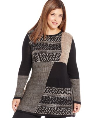 Style & Co. Plus Size Cowl-Neck Mixed-Knit Sweater, Only at Macy's ...