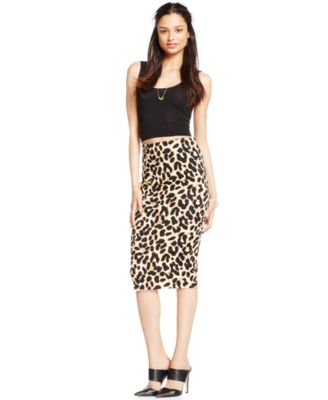 XOXO Juniors' Leopard-Print Scuba Pencil Skirt - Skirts - Juniors ...