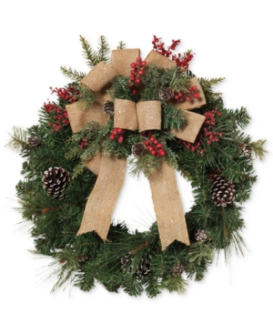 Gerson Pine Wreath With Burlap Ribbon | DealTrend