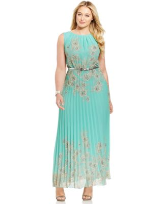 Jessica Howard Plus-Size Floral-Print Pleated Maxi Dress - Dresses ...