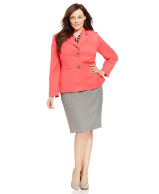 le suit plus size two-button printed scarf skirt suit - wear to