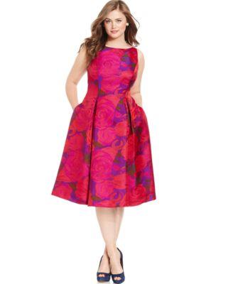 Adrianna Papell Plus Size Sleeveless Jacquard Dress - Dresses ...