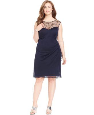 patra plus size embellished illusion dress - dresses - women - macy's