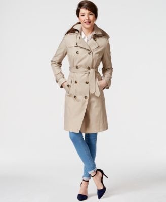 London Fog Petite Layered Maxi Trench Coat - Coats - Women - Macy's
