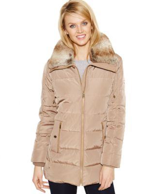 Michael Michael Kors Faux Fur Collar Quilted Down Coat Coats