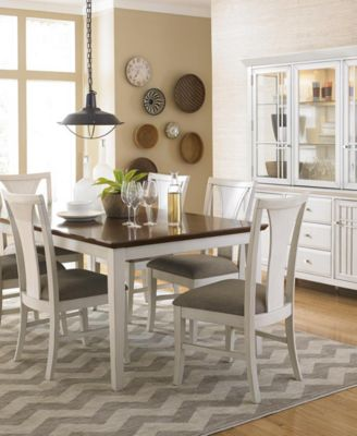 Edgewater White 9 Pc. Dining Table Set (6 Side Chairs U0026 2 Arm