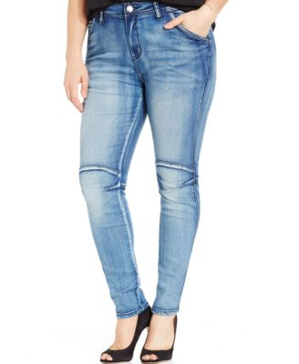 City Chic Plus Size Seamed Skinny Jeans Light Denim Wash - Jeans