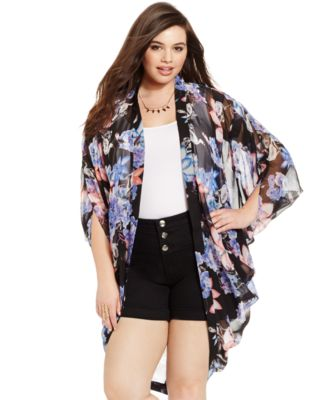 City Chic Plus Size Floral-Print Kimono Cardigan - Plus Sizes - Macy's