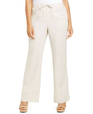 JM Collection Plus Size Linen Capri Pants - Pants & Capris - Plus ...