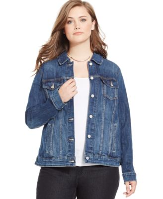 Jessica Simpson Plus Size Pixie Distressed Denim Jacket - Plus ...