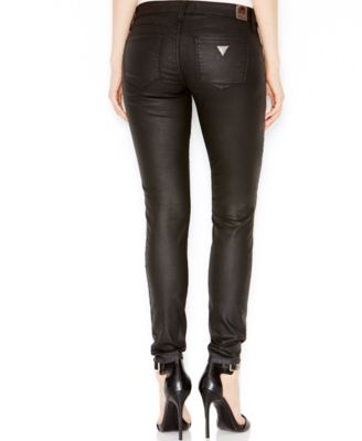 GUESS Power Skinny Jeans Coated Black Silicone Rinse - Jeans