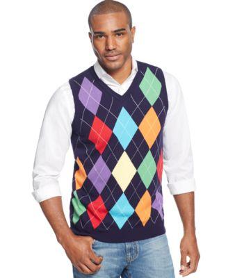 Argyle Culture V-Neck Argyle Sweater Vest - Sweaters - Men - Macy's