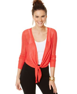 Thalia Sodi Metallic Tie-Front Shrug Cardigan - Sweaters - Women ...