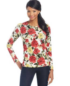 Charter Club Long-Sleeve Blossom-Print Top